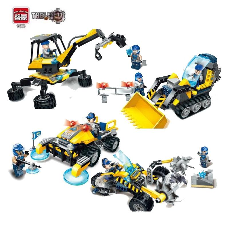 купить Enlighten City Construction Engineering Team Bulldozer Excavator Model Building Blocks Figure Toys For Children недорого
