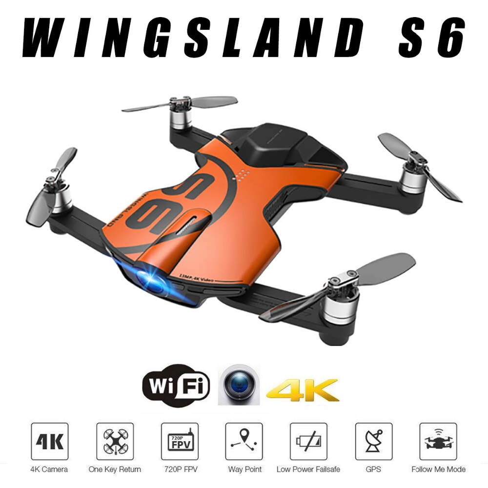 Hot Cheap GPS Drone Wingsland S6 Pocket Selfie Drone WiFi FPV With 4K UHD Camera Comprehensive Obstacle Avoidance wingsland s6 gps wi fi app control 4k uhd camera foldable arm pocket selfie drone wifi fpv rc quadcopter w remote control