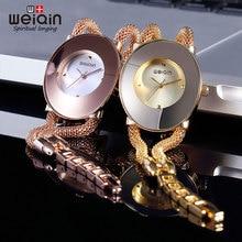 WEIQIN Marca de Lujo de Cuarzo de Moda Reloj de Señoras de Las Mujeres Relojes Casual Reloj de Pulsera de Acero Inoxidable Mujeres Vestido Relogio Regalo