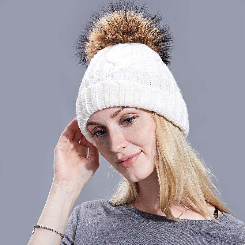 47c05902f9eb52 Winter Women Pom Pom Hats Lining Heater Beanies Add velvet Fleece ...