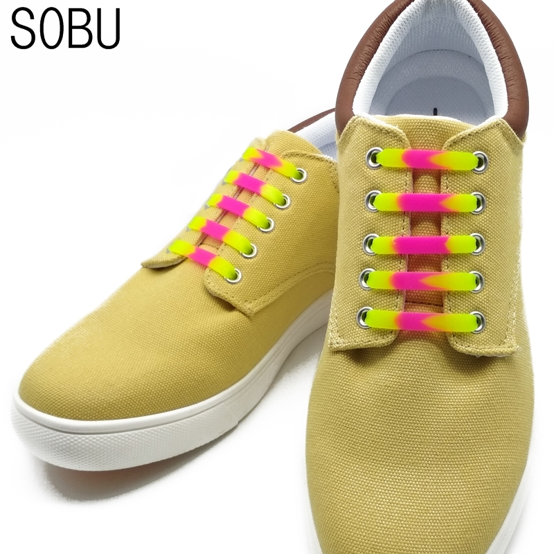 12pcs/lot Candy color silicone shoelaces 2018 NEW no tie shoelaces Unisex Elastic Silicone Shoe Laces Kids shoelaces N014
