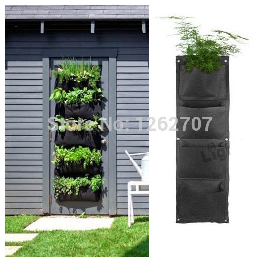 Novelty 4 Pockets Vertical Garden Planter Wall Mounted Polyester Home  Gardening Flower Planting Bags Living