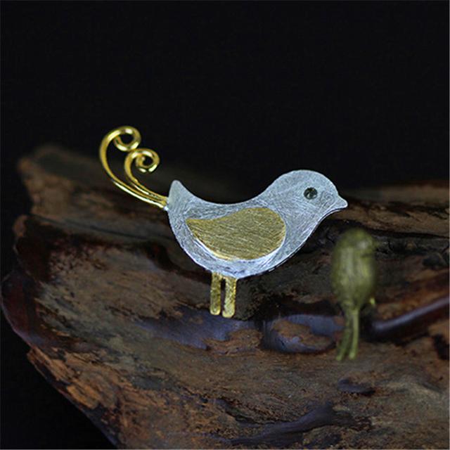 Muito delicado feito à mão pingentes adorável little bird special rouxinol genuíno 925 prata jóias diy novos acessórios