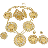 Liffly Fashion Jewelry Dubai Gold Coin Design 18 Gold Necklace Ring Charm Bracelet Jewelry Dangle Earrings Bridal Jewelry Sets