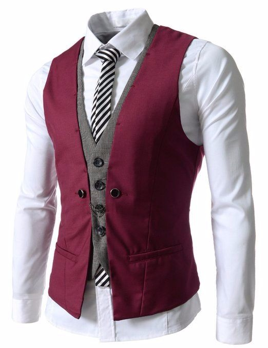 2017 Latest Coat Pant Designs Burgundy Grey Men Waistcoat Fashion Vest Custom Groom Prom Dinner Vests for Suits Terno Masculino