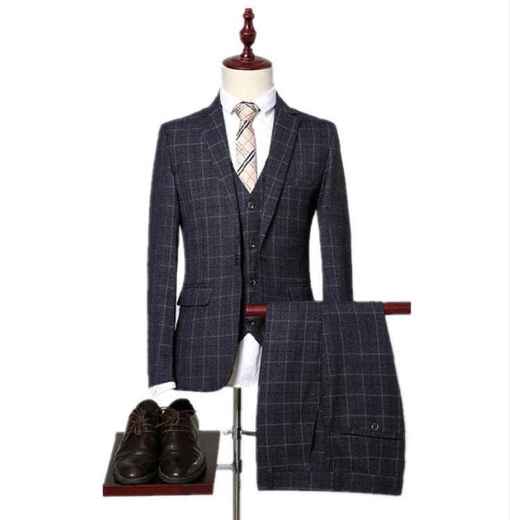 Custom High Quality Plaid Wedding Suits Men,Blazer Men,Wedding Dress,Stripe Men's Dress Suits Jacket+Pants+Vest Costume Homme
