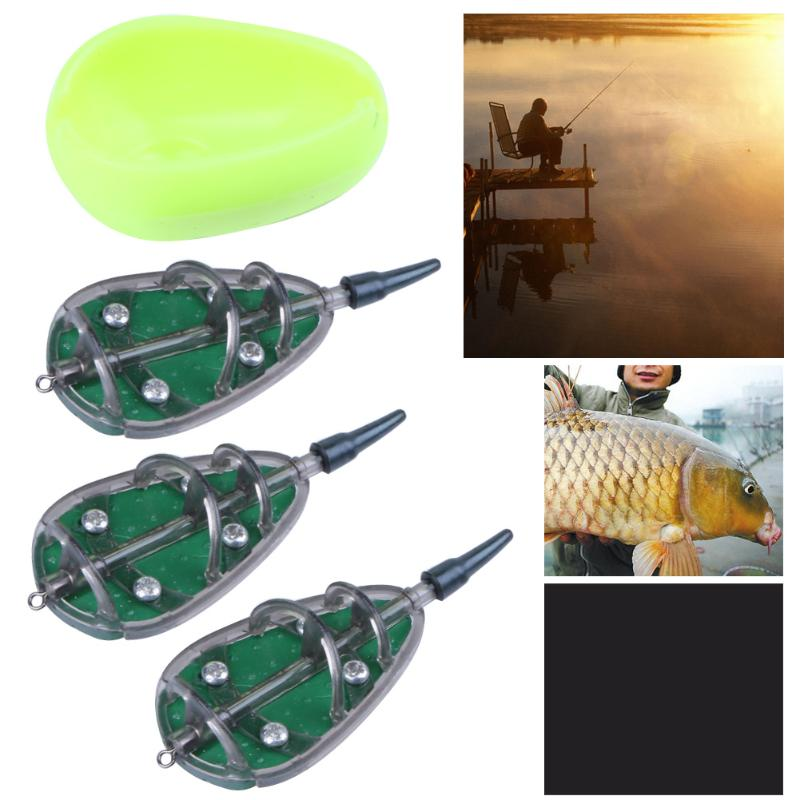 Method Feeder Carp Fishing Trough 30g 40g 50g Set Lead Sinker Free Lead Lures Holder Fishing Accessories Feeder Troughs Pesca