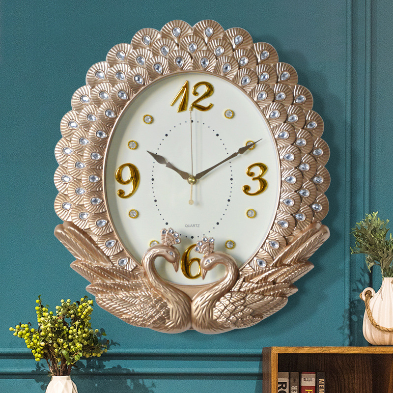 Creative New Home Decor European Timepiece Swan Diamond Painting Peacock Lace Wall Clock Bedroom Silent Vintage Wall Clock