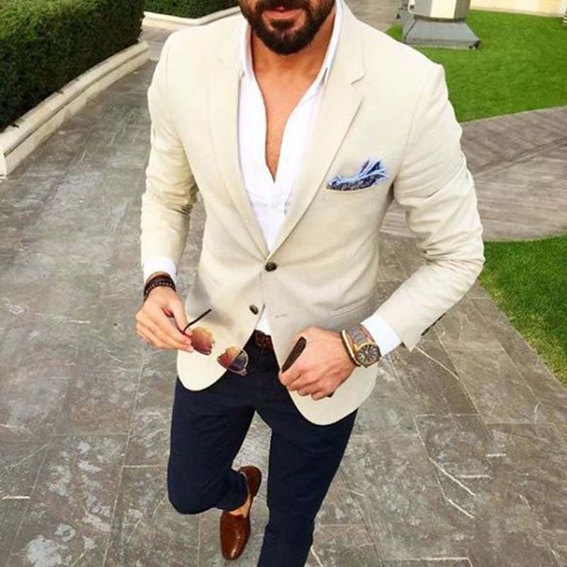 Custom Made Mens Suits Beige Blazer Navy Blue Pants 2 Piece Groom Tuxedos Slim Fit Men Wedding Prom Party Suit (Jacket+Pants)-in Suits from Men's Clothing    1
