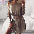 HQ 2017 Spring New Women Sexy Hollow Irregular Split Dress Imitation Silk Vestidos for Women Elastic Waist Party Dress XHH04748