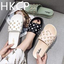 HKCP 2019 slipper women to wear sandals outside summer fashion with new flat bottom thick anti-slip C009