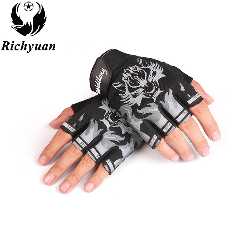 New Sport Gloves for Kids Semi-finger Wolf Print Glove Children Mittens Anti-slip Boys Girl Fingerless Gloves for 6-12 Years Kid ...