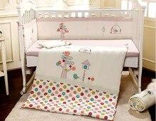 Promotion 7PCS embroidered cute Baby crib bedding set 100 cotton baby bedding 2bumper duvet sheet pillow