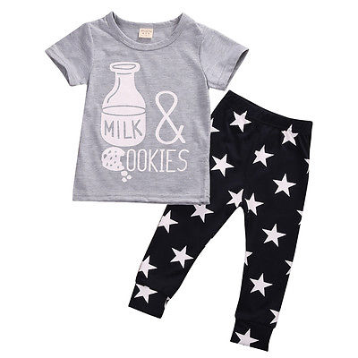 2pcs!!Newborn Baby Clothes Sets Boys Girls Short Sleeve Bottle Printing Tops+Star Long Pants Kids Casual Outfits baby rompers 2016 spring autumn style overalls star printing cotton newborn baby boys girls clothes long sleeve hooded outfits