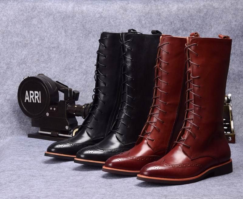 Montaria De Homem Brogue marrom Sapatos Errfc Alta Genuíno 38 Mens 44 Preto Qualidade Apontou Couro Moda Marrom Preto Botas Masculino Toe Designer Eqxaw4