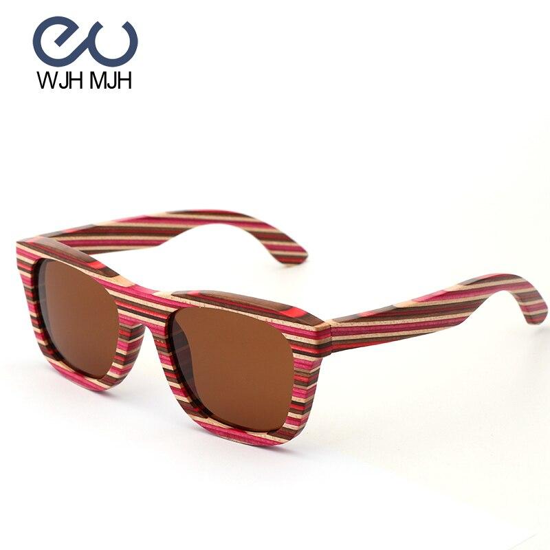 Handgemachte Gläser Sonnenbrille Gafas Sol Objektiv De gold Bunte silber Mujer Reflektierende Rahmen Bambus brown Brillen Holz Purpurrot Polarisierte rqOtr