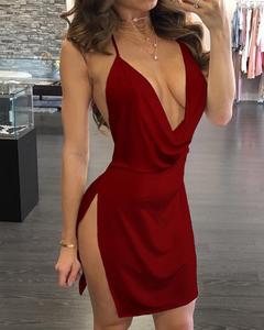 Женское драпированное платье без рукавов, вечерние платья с открытой спиной и разрезом сбоку, новинка 2019