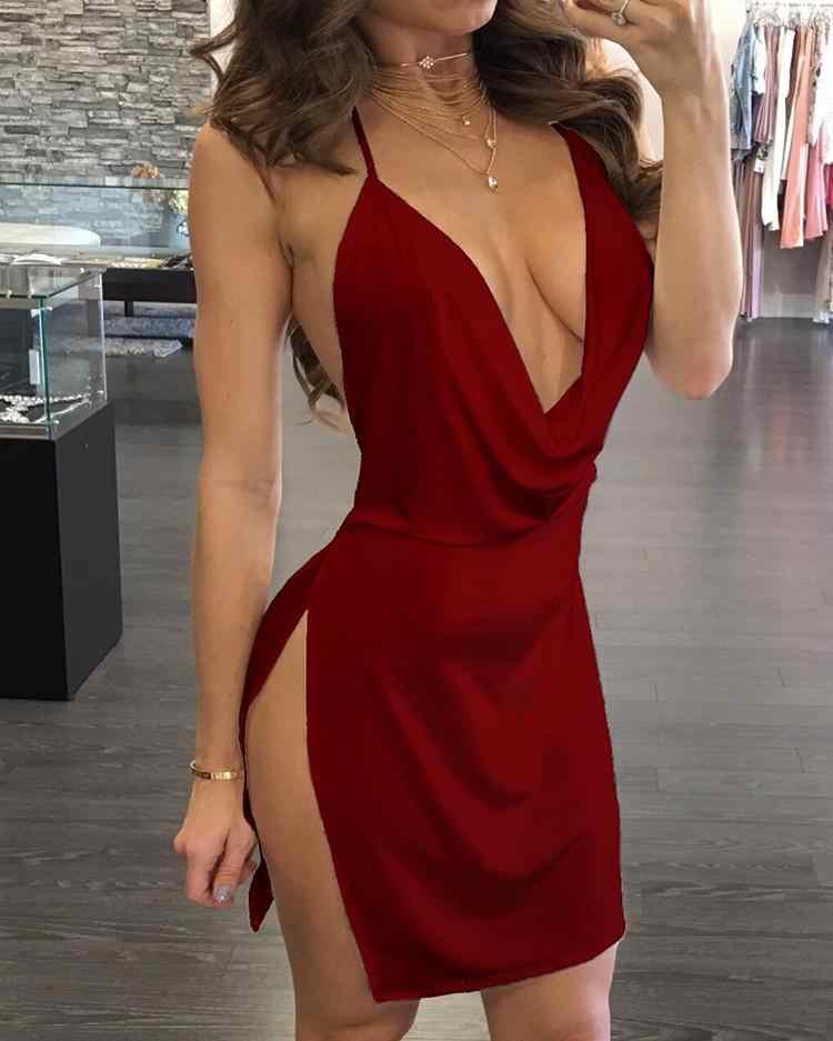 Renvoi drapé cou dos ouvert côté fente robe de soirée 2019 nouvelles femmes sans manches robe Sexy robe de soirée