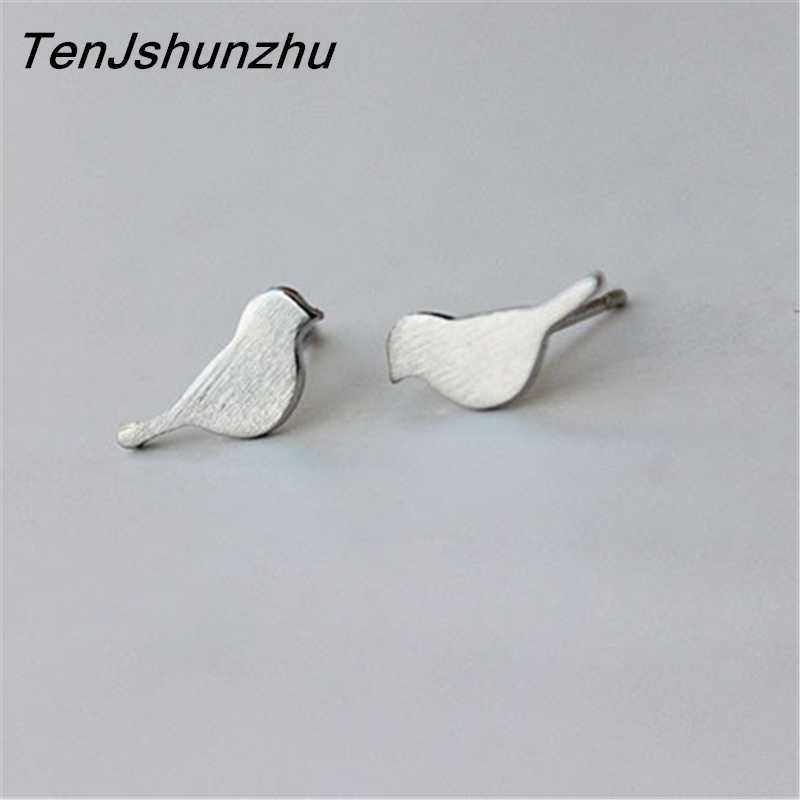100% 925 Sterling Silver Prevent Allergy Animal Bird Stud Earrings for Women Wedding Earrings Jewelry Gift brincos