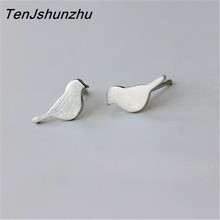 100% 925 Sterling Silver Prevent Allergy Animal Bird Stud Earrings for Women Wedding Earrings Jewelry Gift brincos(China)