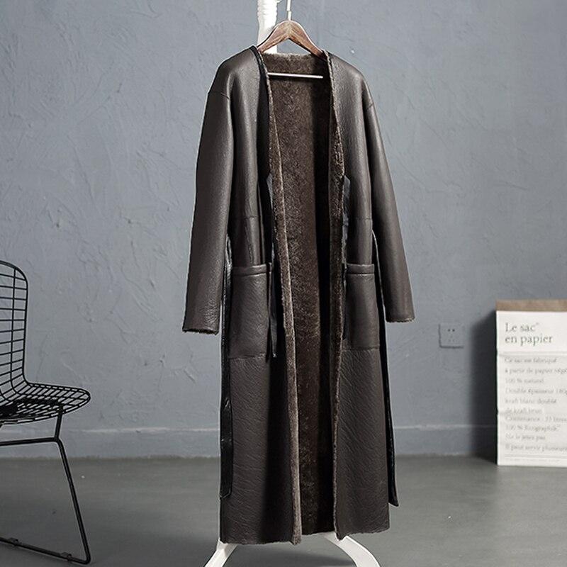 Anderella 2018 новый стиль индейка овечья стрижка шуба женская с обеих сторон носить X-long шерсть меховая парка Мериносовая овечья шерсть пальто