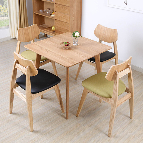 4f88f3c6aa0 Japanese-style modern minimalist small apartment square dining table solid  wood dining table Nordic IKEA