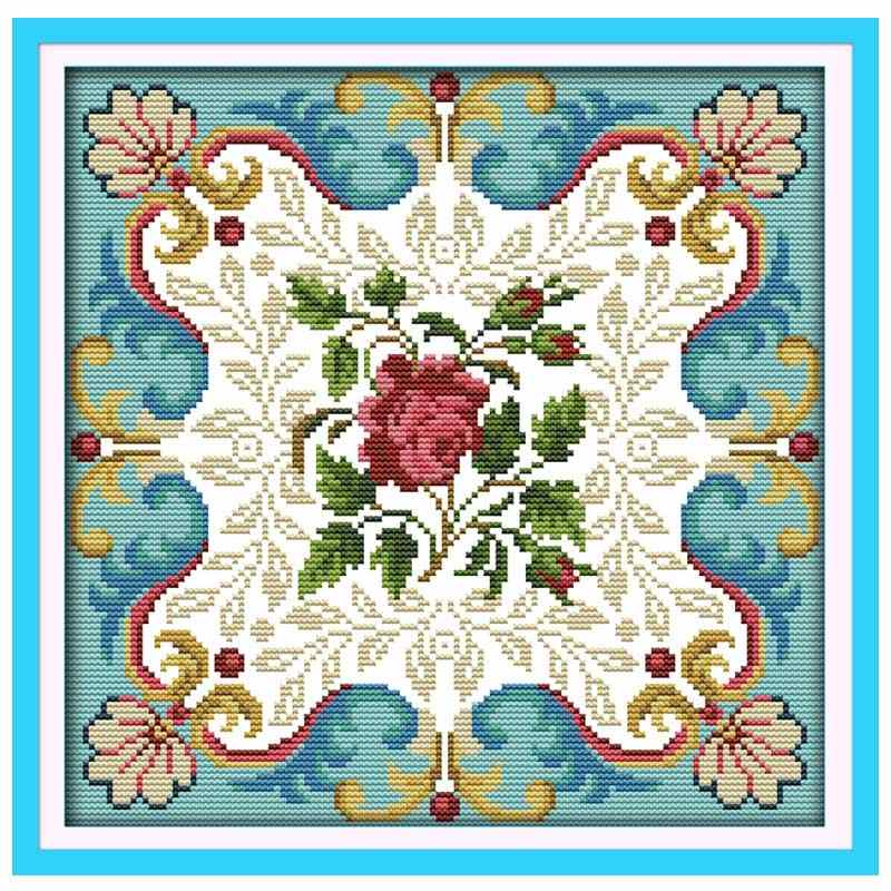 Rose heart flower counted printed on the canvas DMC 11CT 14CT DIY kit Cross Stitch embroidery needlework Sets home decor