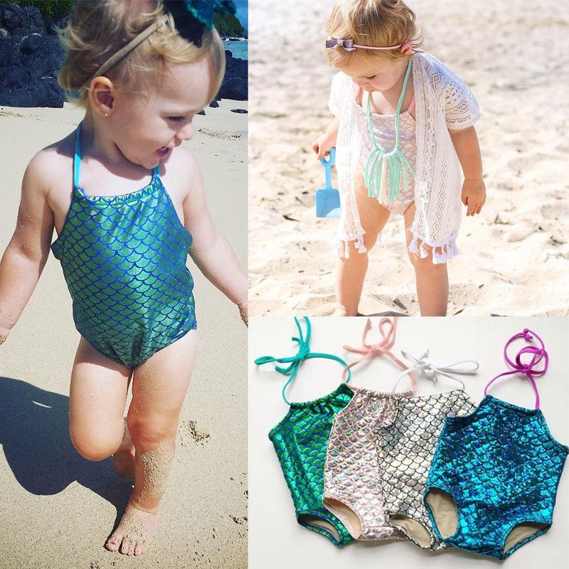 ecbe2bf4e Moda Bebê Da Menina Da Sereia Bikini Swimwuit Miúdos Bonitos Bling Bling  Prata Swimwear Criança Maiô