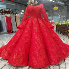 2771 Red Train Long Sleeve Party Dress Evening Dresses
