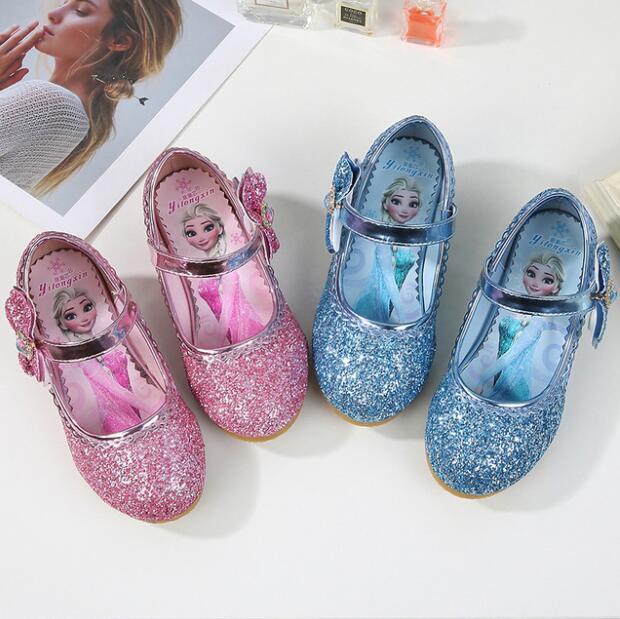 Princess Girls Sandals Kids Leathe Shoes For Girls Dress Shoes Little High Heel Glitter Summer Party Wedding Snow Queen Sandals