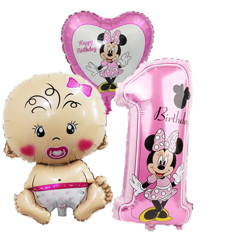 Us 255 26 Offminnie Mickey Thema Partei Folien Ballons 1st Geburtstag Party Dekorationen Kinder Geschenke Baby 1 Jahr Geburtstag Liefert Globos In