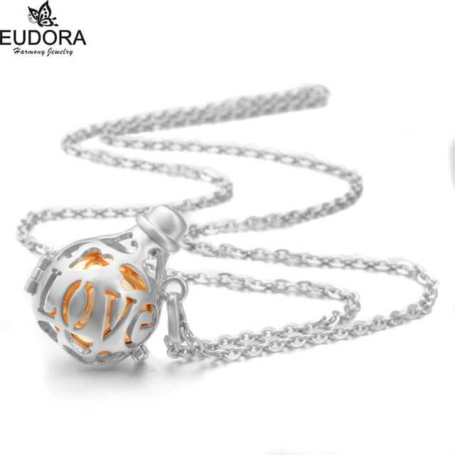 Pregnancy Chime Ball Silver Plated Love Bottle Locket Cage Pendent 20mm Mexcian Bola Angel Caller Jewelry for Pregnant Women