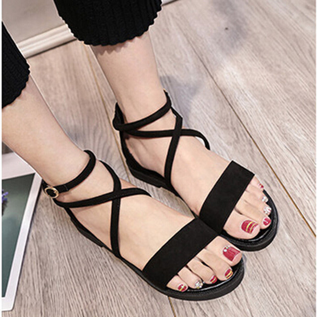 41d500c17498c8 Women Flat Sandals Black New Fashion Female Summer Casual Cross Straps  Leather Open Toe Buckle Low Heel Sandals Zapatos Mujer