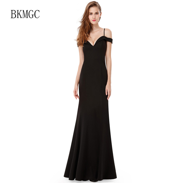 Black Evening Dress Boat Neck Shoulder Strap Fishtail Dress Plus