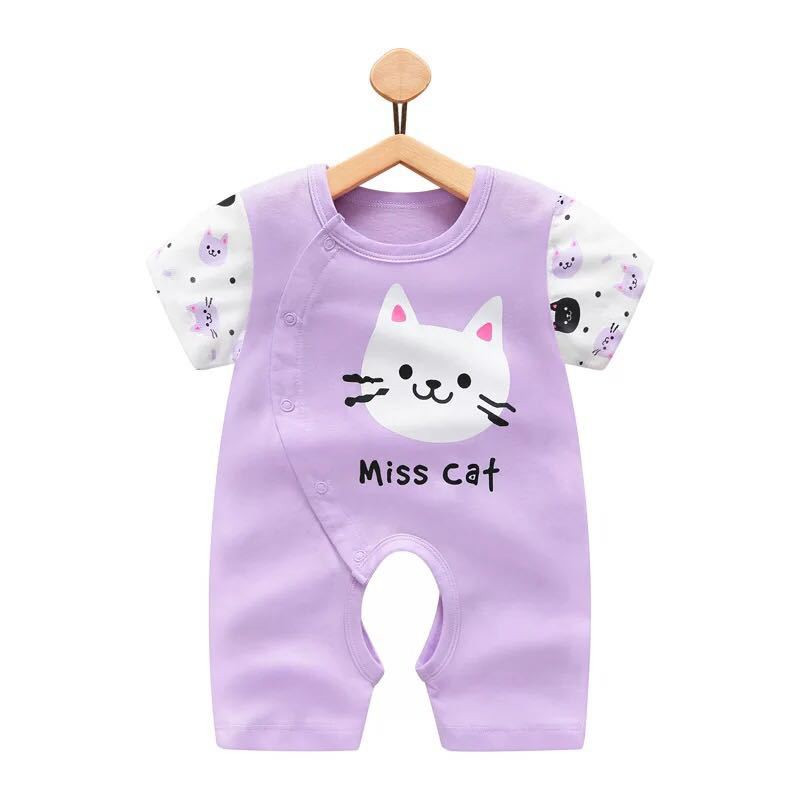 Newborn Baby boy Girl Clothes bebe Romper cute cartoon Cat Print Short Sleeve kid Jumpsuit Summer Infant boxer