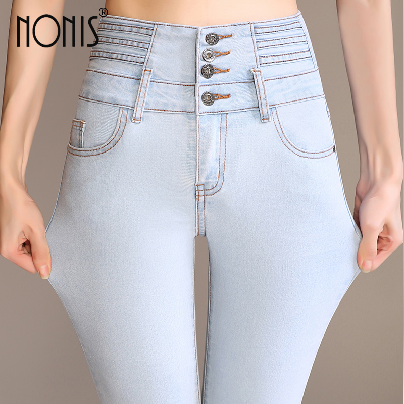 Nonis Plus size 26-33 skinny 2017 new women white blue denim jeans with high waist flared pants feminino trousers inc international concepts plus size new charcoal pull on skinny pants 14wp $59