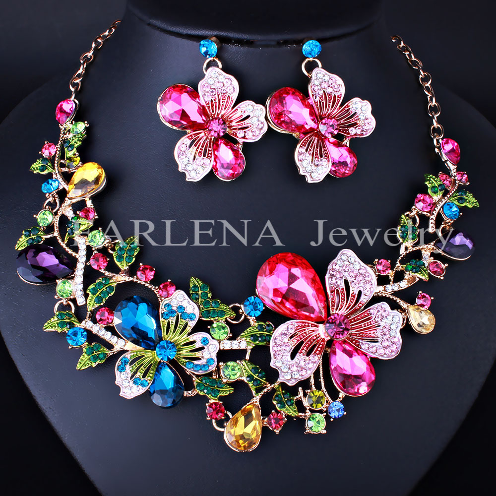 Multicolor Crystal Rhinestone Flower Necklace Earrings Set for Women Wedding Luxury Bridal Jewelry sets new fashion multicolor crystal exaggerated flower shape necklace and earrings sets for women party bridal wedding jewelry sets