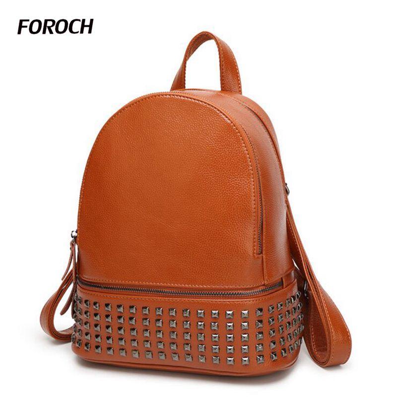 FOROCH New Women Backpack Youth Genuine Leather Backpacks for Teenage Girls Female School Shoulder Bag Rivet Bagpack mochila 165