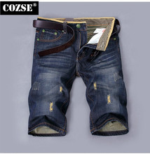 2015 New Casual Summer Men Loose  Ripped Straight Knee Length Jeans Pants Trousers Hot Sale D3886