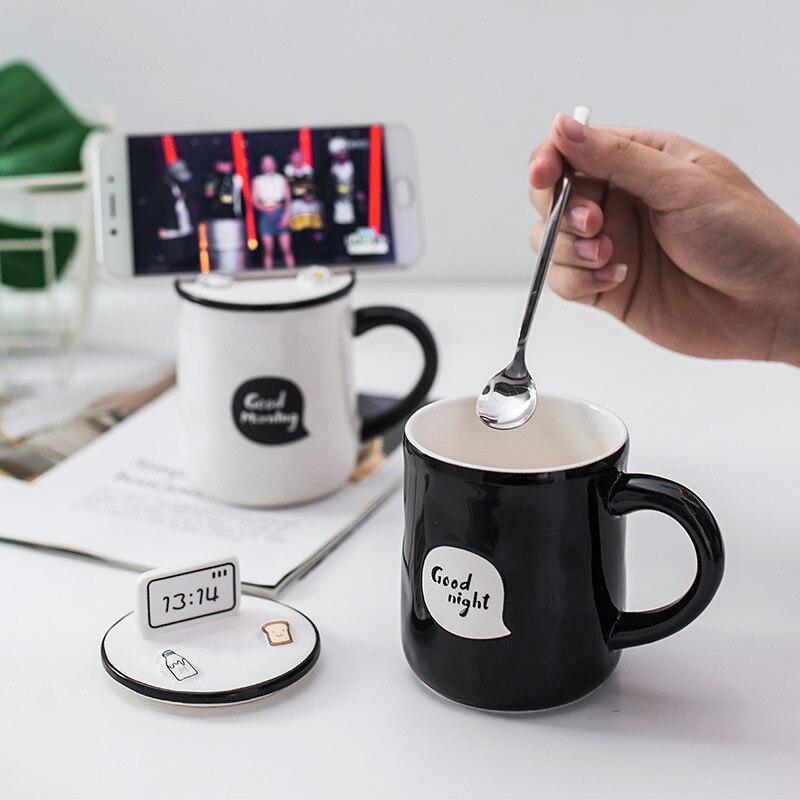 380ml Couple Ceramic Cup Cute Cartoon Student Good Morning Breakfast