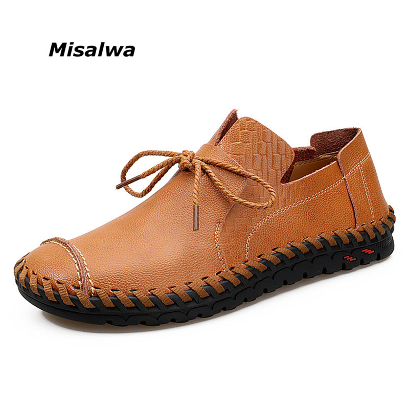 Misalwa Men Young's Black Brown New Casual Loafers Boat Fisherman Shoes Wear Slip-on Lace Leather Big Plus Size Stylish Shoes