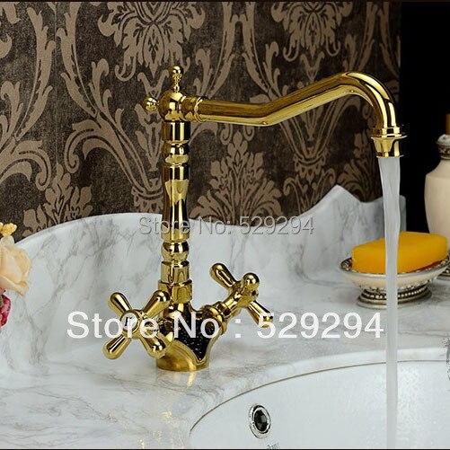 Фото Golden Double Clawfoot Handle long neck Bathroom basin faucet. Single Hole/handle brass polished bathroom sink mixer tap.