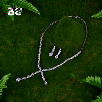 Be 8 AAA Clear Cubic Zirconia Square Necklace Earrings Jewellery Sets for Brides Wedding Jewelry Sets bijoux femme ensemble S048
