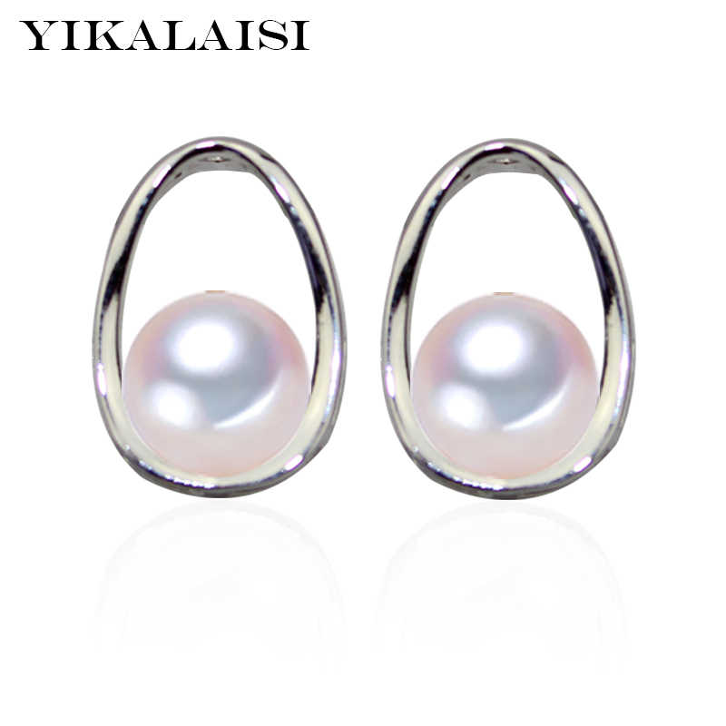 YIKALAISI 925 Sterling Silver Natural Freshwater Pearl Oval Fashion Stud Earrings For Women 8-9mm Oblate Pearl 5 Colour