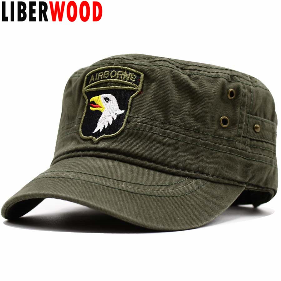 LIBERWOOD 101ST AIRBORNE DIVISION SCREAMING EAGLES Cap Hat US ARMY Air Force Baseball caps for Men Women Cotton Flat Top Cap Hat