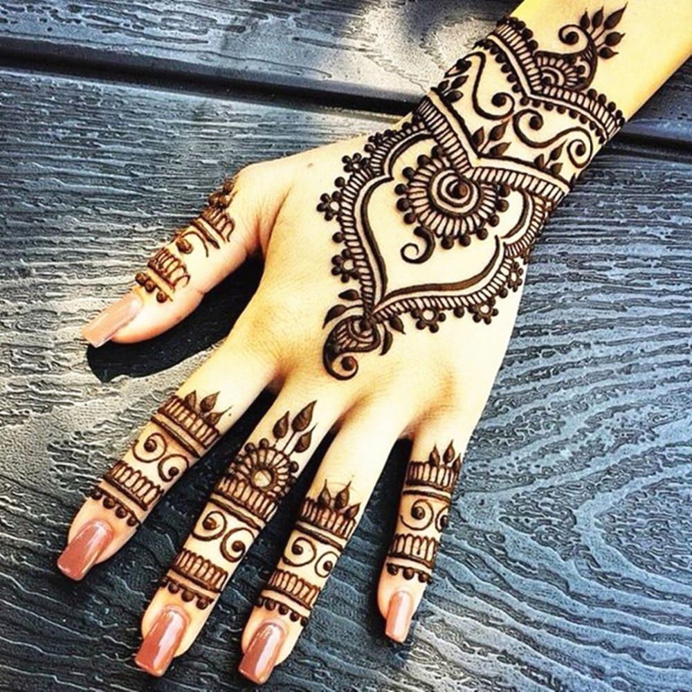 Nu-TATY Mehndi Svart Henna Tattoo Pasta Cone 3pcs / lot + Stencil - Tatovering og kroppskunst - Bilde 5