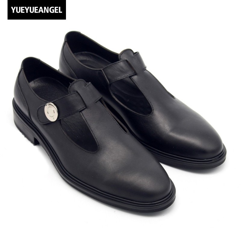 Runway Summer Real Leather Breathable Shoes Men Hook & Loop Hollow Sandals Top Quality Vintage Formal Dress Sandalia Masculina