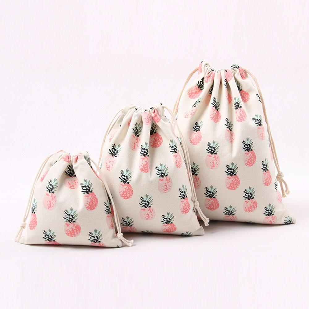 2018 Fashion Unisex Pineapple Printing Drawstring Beam Port Storage Bag Travel Bag Gift Bag Women Rucksacks mochilas mujer B20