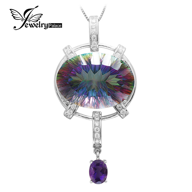 HUGE Fashion Women 39ct Genuine Natural Amethyst Rainbow Fire Mystic Topaz Pendant Necklace Solid Pure Real 925 Sterling Silver