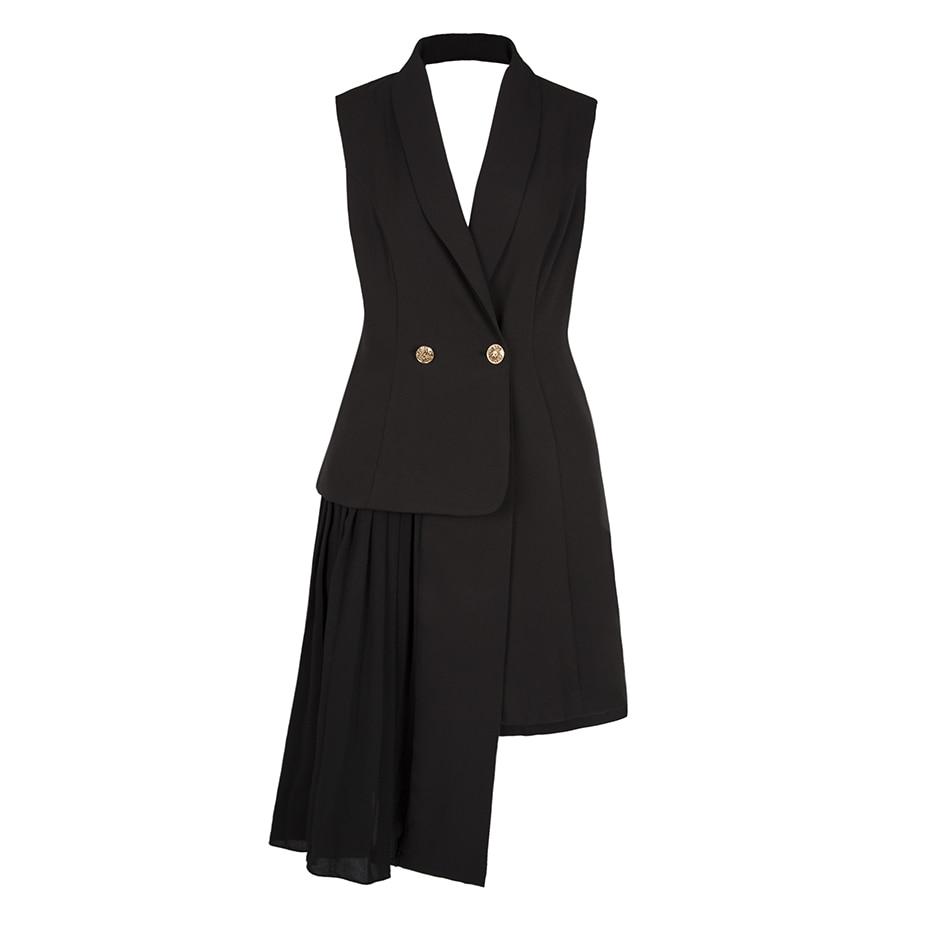 2018 Spring New Fashion Vest Coats Women Long Button Sleeveless Black Blazer Lady Office Elegant Patchwork Vest Jackets